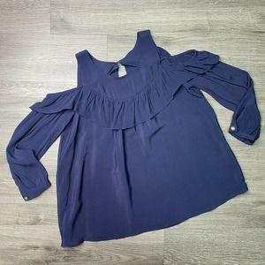 MAEVE | sz 2 Navy Cold Shoulder Ruffle Blouse